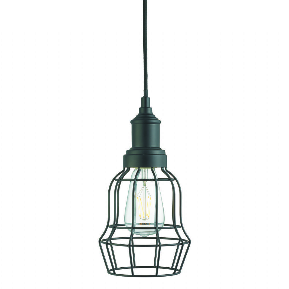 Bell Cage 1 Light Matt Black Cage Pendant (Class 2 Double Insulated) Bx6847Bk-17
